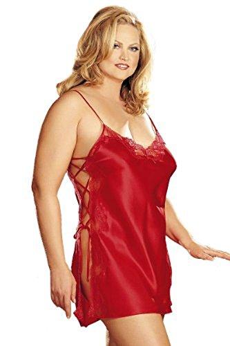 Shirley Hollywood Charmeuse Babydoll (Shirley of Hollywood Nummer X20015Größe 3X Cherry Rot Charmeuse Schnürschuh Chemise)