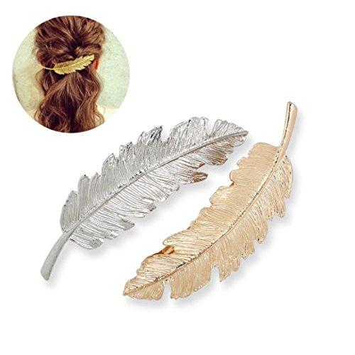 Tinksky Pince à cheveux en forme de feuille pour griffe headwears Accessoires cheveux Lot de 2 (Doré + Argenté)