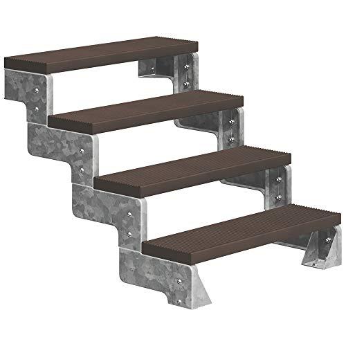 DOLLE Außentreppe Gardentop mit 4 Stufen | Geschosshöhe 72-88 cm │ Trimax® Stufenauflage Dunkelbraun │ 80 cm | ohne Geländer