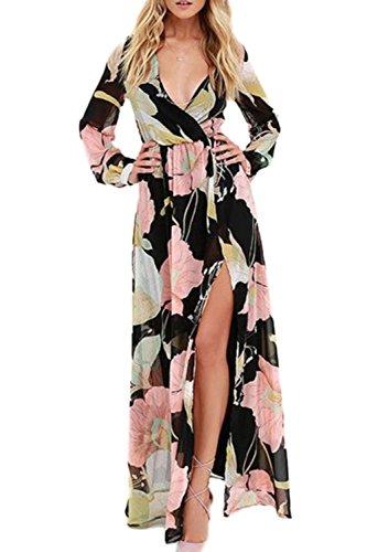 La-Mujer-Es-Elegante-De-Manga-Larga-Abertura-Lateral-Bohemio-Vestido-Maxi-Estampado-Floral