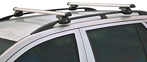 LANCO Automotive Relingträger Alu Move | AL-1240 |Universell Einsetzbar|Einfache Montage an Fahrzeug-Reling Ihres Kfz | Made in EU, Set of 2