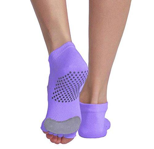 Macohome® Hochwertig Leder Yoga Pilates Socken Anti-Rutsch Damen Zehensocken Größe EU 35-40 (Lila, EU 35-40)