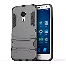 Bllosem Meizu MX5 Case Hybrid Dual Layer PC+TPU Full Body Shock Resistant Armour with Kickstand Function Case for Meizu MX5 Gray