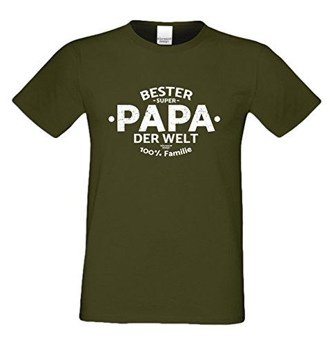 Geschenk Idee, Geburtstagsgeschenk Vater T-Shirt Funshirt Bester Papa der Welt zum Vatertag, Geburtstag auch in Übergröße Farbe: khaki Khaki