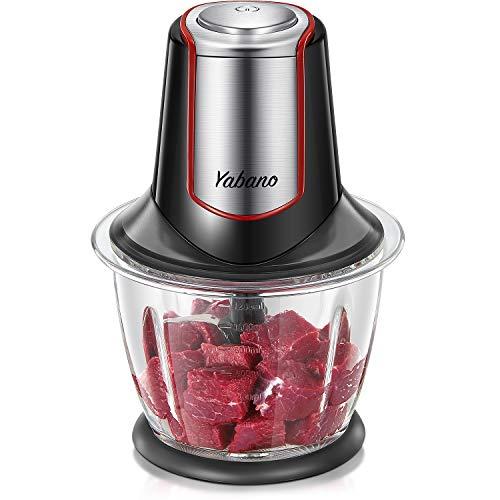 Yabano ZerkleinererElektrisch Küche mit Leistungsstarker Kupfermotor, 4 Klingen aus Edelstahl 304 und 1.2L Glasbehälter BPA Frei leise, Multizerkleinerer für Fleisch, Obst, Gemüse und Babynahrung