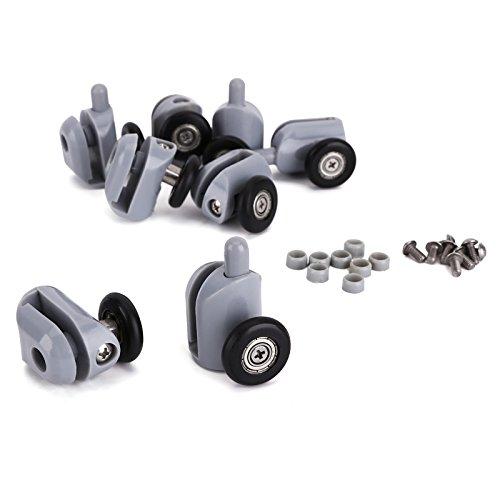 CLE DE TOUS - 8pcs x 25mm Rodillo Rodamiento Reemplazo Recambio Repuesto para Puerta Corredera de Ducha Baño + Cojinete de Bolas Color Negro y Gris