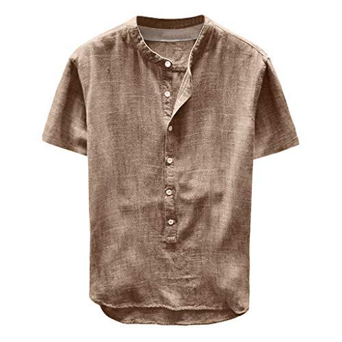 Kostüm Jockey Sexy - Xmiral Herren Oversize Lange Ärmel Sweatshirt Knopf Basic Shirt Baumwollmischung Slim Fit Kurzarm Rundhals Shirt Longsleeve T-Shirt(Khaki-Kurzarm,XXL)
