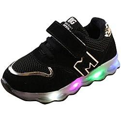 K-youth® Zapatos LED Niños Niñas Zapatillas Niño Zapatillas Para Bebés Zapatos de Bebé Zapatillas de Deporte Antideslizante Zapatillas con Luces Para Niñas Niños (28 EU, Negro)