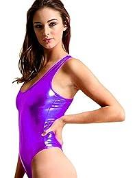 021d52f3319a9 iEFiEL Damen Hydrasuit Wetlook Metallic Badeanzug Bademode Schwimmanzug  Sportbody Body Bodysuit…