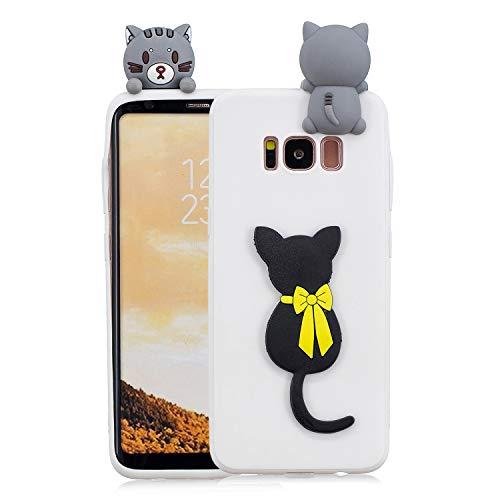 Yobby 3D Cartoon Tiere Hülle für Samsung Galaxy S8 Plus, Samsung Galaxy S8 Plus Niedlich Süß Motiv Handyhülle Schlank Weich Flexibel Gummi Silikon Schutzhülle Stoßfest Rückseite-Schwarz Katze