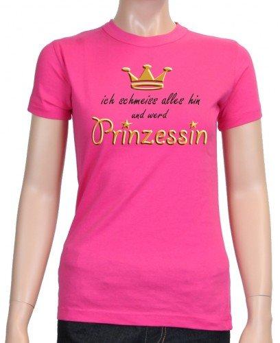 Ich schmeiss alles hin und werd PRINZESSIN ! Damen - GIRLY T-Shirt, pink-black-gold Gr.L - Gold-damen-pink T-shirt