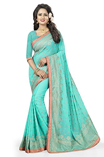 Viva N Diva Women's Blue Colored Georgette sarees new collection today special.