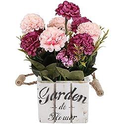 Flikool Hortensie Künstliche Blumen mit Holztopf Gefälschte Künstliche Pflanzen mit Topf Simulation Topfpflanzen Bonsai Hydrangea Kunstblumen Kunstpflanzen Ornaments Dekorationen - Rose Blumen mit Square Weiß Pot