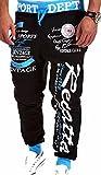 jeansian Estate Tendenze Moda Uomo Sport Casuale Pantaloni Della Tuta Harem Pants S376 Black&Blue M