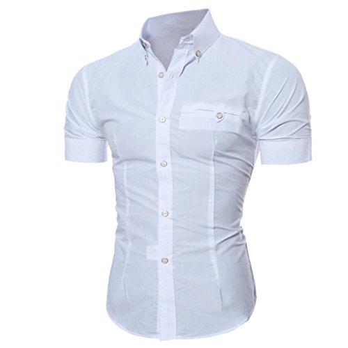 Herren Hemd T-shirt,Dasongff Herren Hemden Mode Luxus Business Stilvolle Slim Fit Kurzarm Freizeithemd Businesshemd Hemd Shirt Tops Sieben Farben Sommer (L, Weiß) (Anzug 3-knopf-klassisches)