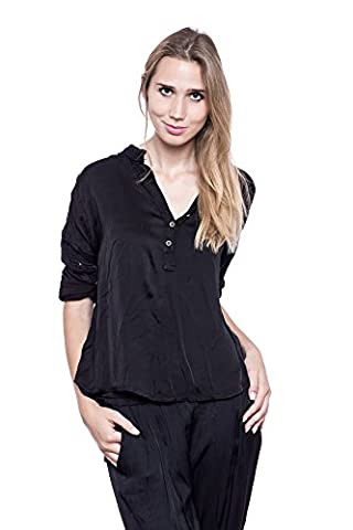 Abbino Damen Shirt Bluse Top Seidenbluse Seidenshirt Sarita - Made in Italy Langarm Button Down Kragen Seide Frühjahr Sommer Herbst Damenblusen Damenshirts Sexy Festlich Freizeit -5 Farben- Schwarz