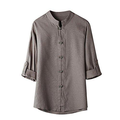 UFACE Men's Button Lässige Feste Shirt Chinesischen Stil Kung Fu Shirt Tops Tang Anzug 3/4 Ärmel Leinen Bluse (2XL, Grau)