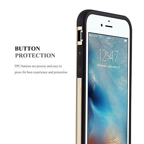 Apple iPhone 6 / 6S Hybrid Hülle in GOLD von Cadorabo - Hard Case TPU Silikon Schutz-hülle Hybrid Cover im Outdoor Heavy Duty Design – Handy-hülle Bumper Case Tasche Etui GUARDIAN-GOLD