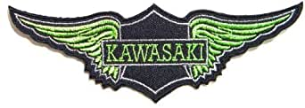 "KAWASAKI NINJA Wings Motorcycles Biker Embroidered Sew iron on Patch Dimensions:ca 5.25""Width x 1.75""Height Ecusson brode Ecussons Imprimes Ecussons Thermocollants Broderie Sur Vetement Ecusson Sold SSLINK"