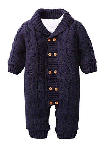 Keral Neugeborenen Warme Pullover Baumwollstreifen Zweireiher Mit Kapuze Strickjacke 12M Dunkelblau