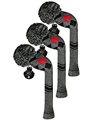 Scott Edward maderas de calle golf club cabeza Covers, Argyle patrón, hilo acrílico double-layers de punto, 3 piezas paquete, giratorio con número etiquetas, 4 colores opcionales, negro