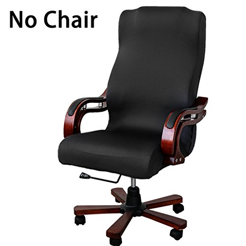 BTSKY New High Back Office Chair Covers Stretchy for Computer Chair/Desk Chair/Boss Chair/Rotating Chair/Executive Chair Cover, Large Size, Black