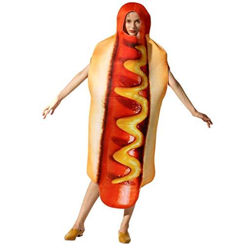 Dog Erwachsene Kostüm Für - TINGSHOP 3D Hot Dog Kostüm, Halloween Kleidet Unisexwurst-Neuheit-Abendkleid-Erwachsen-Hotdog-Kostüm-Leistungsstadiumsklage Weihnachtskarneval-Rollenspielparty An
