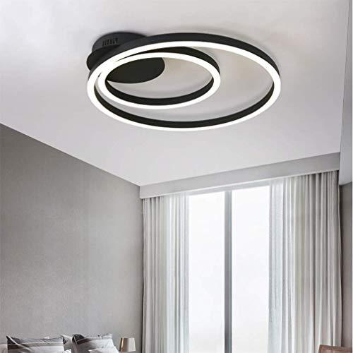 NACHEN Deckenbeleuchtung Led Wohnzimmer Lampe kreisförmige Helligkeit einstellbar dimmbar Double Loop Lampe 40 + 50CM,Black,whitelight - Kreisförmige Lampenschirme