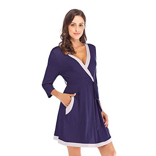 dbf22b0048a3 Mini Balabala Donna Kimono Vestaglia Pigiama Sleepwear, di Seta Cotone di  Seta del Robe Accappatoio