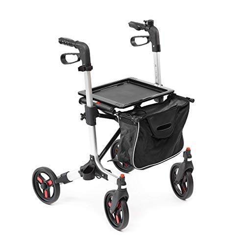 Rollator aus Aluminium | leicht | Griffhöhe höhenverstellbar | Feststellbremse | bis 135 kg belastbar | abnehmbare Einkaufstasche | faltbar | schwenkbare Räder | Leichtgewichtrollator (schwarz)