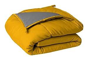 Sleepyhead Microfiber Reversible Comforter 220 GSM - Single Size, Chrome Yellow & Ash Grey