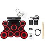 Yoome 9-Pad Faltbare E-Drum-Set, elektrische Roll-Up Drum-Pads MIDI-Drum-Kit mit Kopfhöreranschluss, integrierte Batterie und Lautsprecher, Drumsticks, Fußpedale für Kinder Praxis Drum Starters - Red
