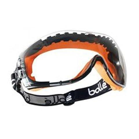 Bollé pilopsi Pilot Brille schwarz und orange Polypropylen und TPV Rahmen, belüftet PC klar, kratzfest und Anti-Fog Objektiv
