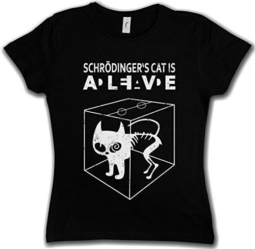 SCHRÖDINGERŽS CAT IS ALIVE DEAD II WOMAN GIRLIE DONNA T-SHIRT - The Big Schroedinger TV Bang Theory Sheldon Taglie XS - 2XL