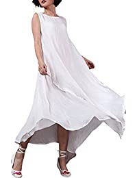 StyleDome Vestido Largo Casual Elegante Fiesta Noche Lino Cuello Redondo sin Mangas para Mujer