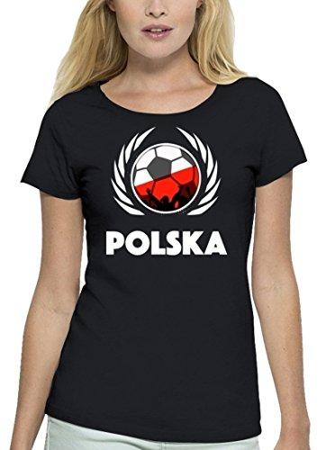 ShirtStreet Polska Poland Fussball WM Premium Fanfest Damen T-Shirt Bio Baumwolle Stanley Stella Fußball Polen Black