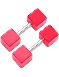 1 Paar Homme 4mm Goujons Dormeuses Rouge Jauges richeur Cube Faux Oreille Bouchon Fake Plugs FWDG