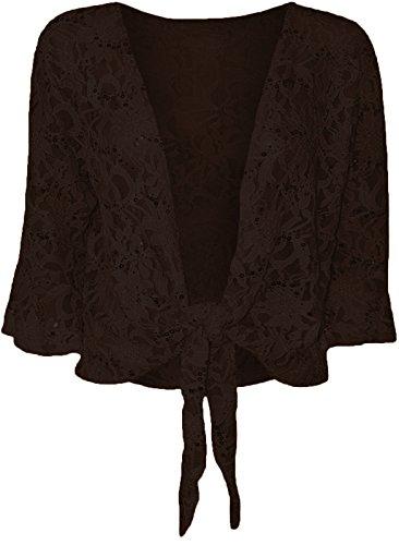 Top Fashion Frauen Damen Plus Size Top Pailletten Tie Spitze Bolero ausgestellte 3/4-Ärmel Größe 36-48 (Rüschen Detail-top)