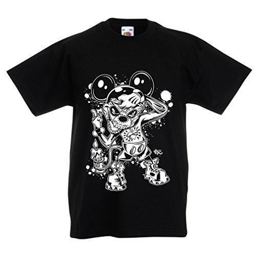 lepni.me Kinder Jungen/Mädchen T-Shirt Eine Maus mit Einem tollen Halloween-Party-Kostüm (14-15 Years Schwarz Mehrfarben)