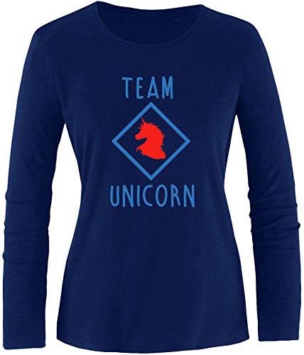 EZYshirt® Team Unicorn Damen Longsleeve Navy/Blau/Rot