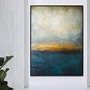 Orlco Art Original Hand Painting Blue Palette Knife Gold and Green Large Decor Oil Abstract Painting On Canvas Blue and White
