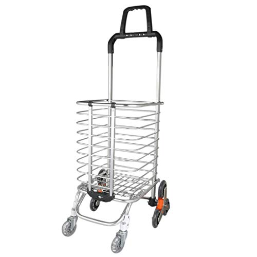 6a7a12558953 ZCHXD Folding Shopping Cart, Lightweight Stair Climbing Cart for Laundry,  Shopping, Grocery, Transport Up to 110 Pounds, Silver White, Eight-Wheel ...