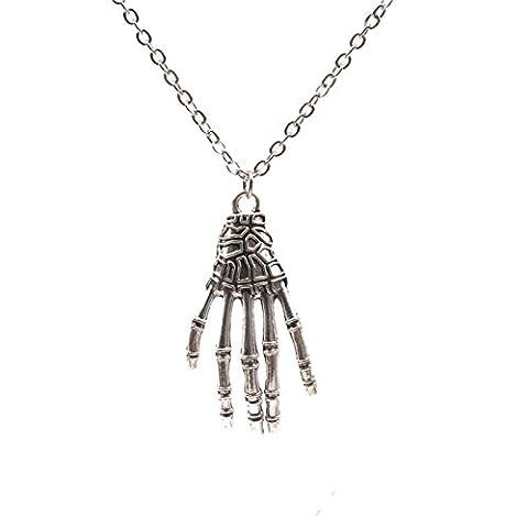 Beydodo Halloween Theme Skeleton Skull Hand Necklace for Women Halloween Party Gift for Children
