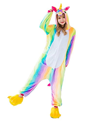 CozofLuv Einhorn Kostüm Erwachsene Tier Jumpsuits Pyjama Nachthemd Nachtwäsche Karnevalskostüme Faschingskostüm Kapuzenkostüm (L: 170-180cm, Regenbogen)