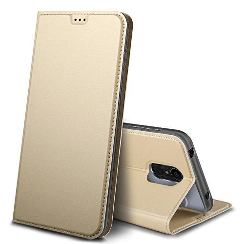 iBetter Alcatel 3C Hülle, Premium Tasche Cover Flip Case [Magnetic Closure] [Standfunktion] Schutzhülle Handyhüllen für Alcatel 3C Smartphone (Gold)