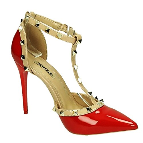 Elegante Damen Riemchen Abend Sandaletten High Heels Pumps Lack Stilettos Schuhe GH Rot