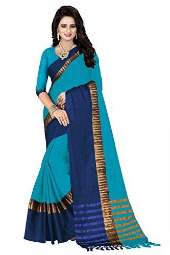 5ca296b6075e8d Crazy Women s Silk Cotton Saree with Blouse Piece(Sivamani Sky Light ...