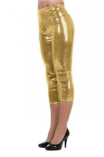 ings mit Pailletten Disco Kostüm Glitzer Hose Topqualität glänzend Silvester, Größe:36;Farbe:Gold ()
