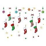 Naisidier 60 * 45cm Adventskalender Schaufensterdekoration Glastür selbstklebender Wand Aufkleber 1 Verpackung Weihnachtsstrümpfe socken Stil Fügen Sie eine festliche Atmosphäre hinzu