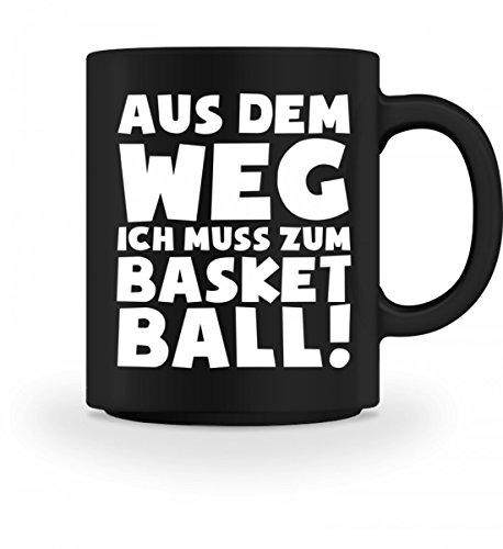 shirt-o-magic Hochwertige Tasse - ich muss zum Basketball! - Geschenk Basketballer-in Basketballspieler-in Fan